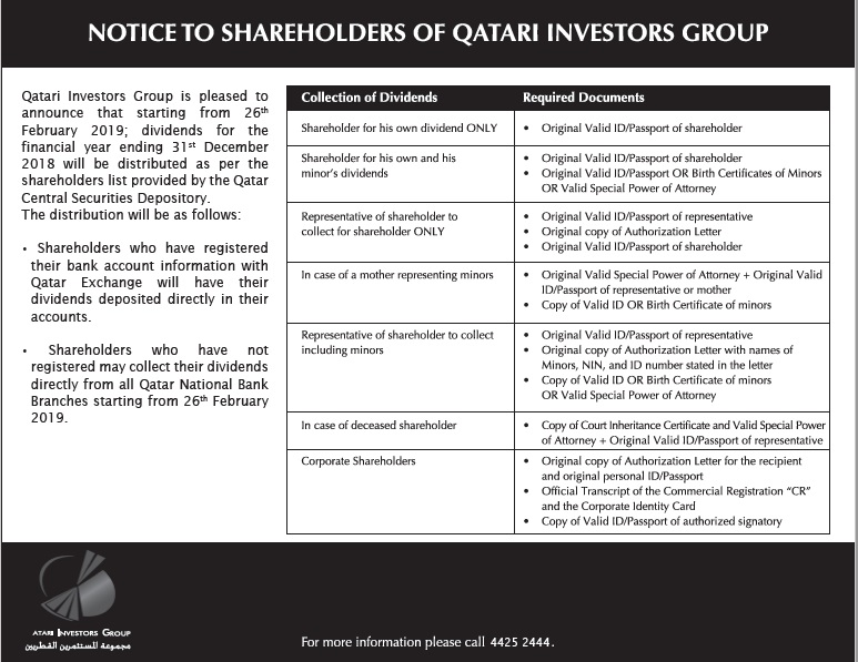 Notice to Shareholders of Qatari Investors Group